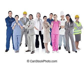 Large group of workers of different industries on white...