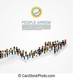 Large group people shape arrow