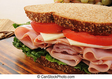 Large ham and chese sandwich