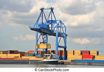 Large Harbor Crane - Large mobile harbor crane loading a ...