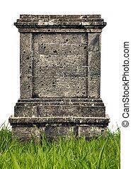 Large headstone monument on white background
