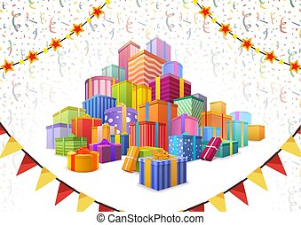 Large heap of bright colorful presents on background with balloons, buntings garlands on white