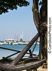Large historic anchor at waters edge