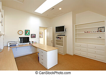 Large Home office - home office with white furniture