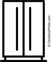 Large home refrigerator icon, outline style