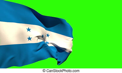 Large honduras national flag blowing on green screen...