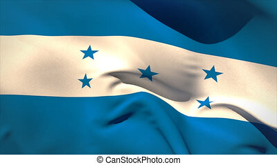 Large honduras national flag waving filling the screen