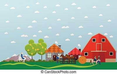 Large horse farm, vector banner in flat design