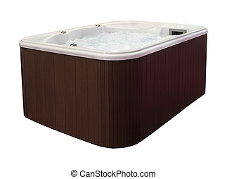 Large hot tub with brown edge isolated with clipping path