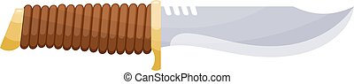 Large hunting knife in Cartoon style on a white background. Isolated object hunter. Stock