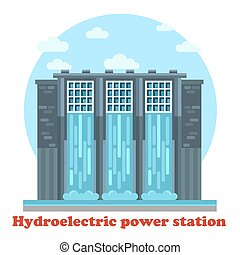 Large hydroelectric power station and water falling from dam...