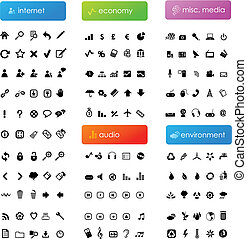 155 vector icons divided into five categories (internet, economy, audio, misc. media and environment)