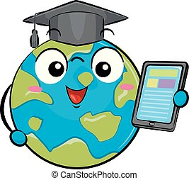 large, illustration, apprentissage, mondiale, la terre, mascotte