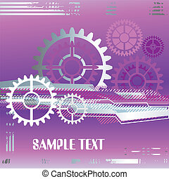 large industrial gears futuristic background with copy...