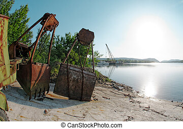 Large industrial machine on the shore