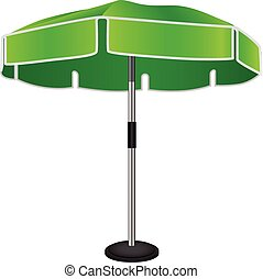 Large industrial umbrella on a steel rack. Vector drawing.