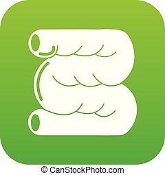 Large intestine icon green vector