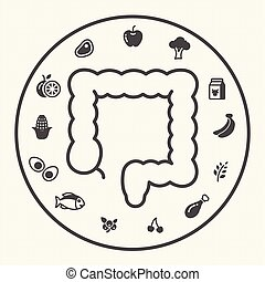 Large intestine, When your mind is hungry. Healthy food and lifestyle concept, Obesity concept, Vector illustration icons set.