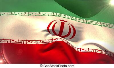 Large iran national flag waving