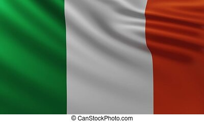 Large Irish flag background in the wind with wave patterns