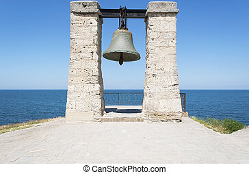 Large iron bell on the Black Sea coast in Chersonese