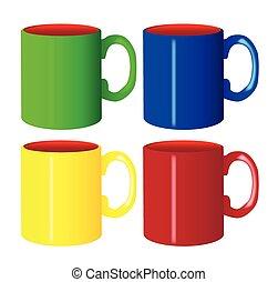 Large Isolated Mug Set