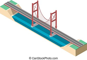 Large isometric suspension bridge. Vector illustration...