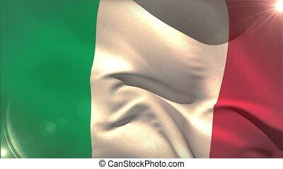 Large italy national flag waving