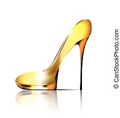 large jewel shoe - white background and the golden ladys ...