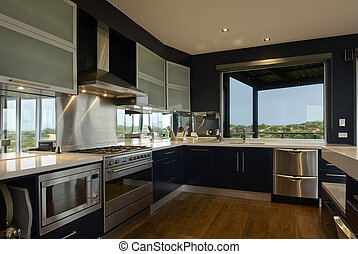Large Kitchen - An interor view of a large, deluxe family...
