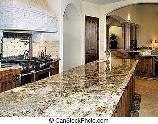 large kitchen granite counter