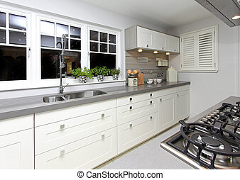 Modern kitchen interior with large working surface