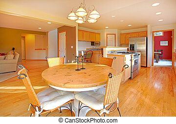 Large kitchen with breakfast area