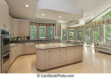 Large kitchen with center island