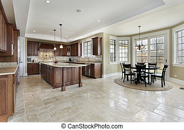 Large kitchen with eating area