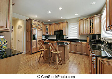 Large kitchen with wood cabinetry