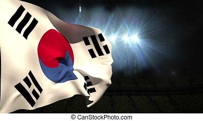 Large korea republic national flag waving on black...