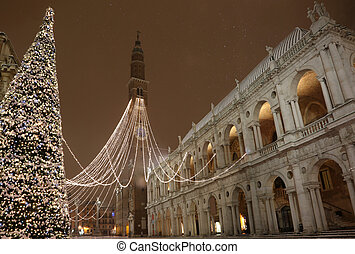 large lighted Christmas tree in the main town square of Vicenza
