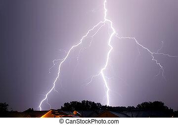 large lightning strike thunderstorm