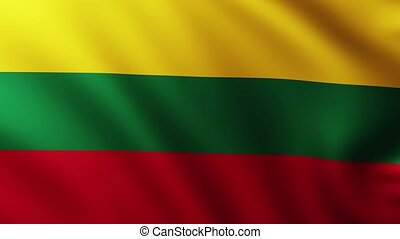 Large Lithuanian Flag background fluttering in the wind