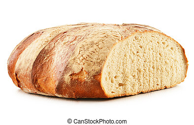 Large loaf of bread isolated on white
