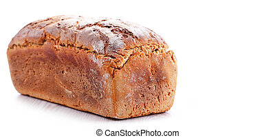 Large loaf of fresh organic bread isolated on white