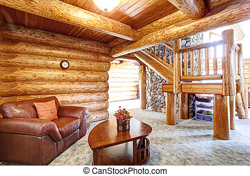 Large log cabin house interior - cozy Sitting room with...