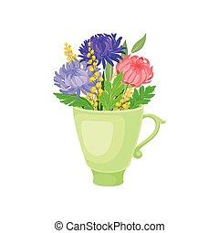 Large lush flowers in the mug. Vector illustration on white background.