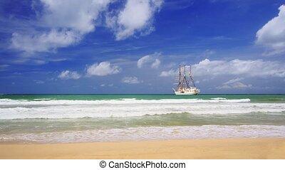 Large Luxury Sailing Yacht Anchored near Tropical Beach - ...
