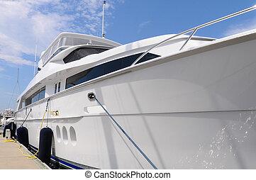 Large Luxury Yacht - Beautiful triple deck luxury yacht tied...