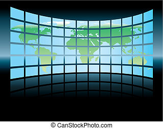 Large map - PWorld map in a large display on a dark ...