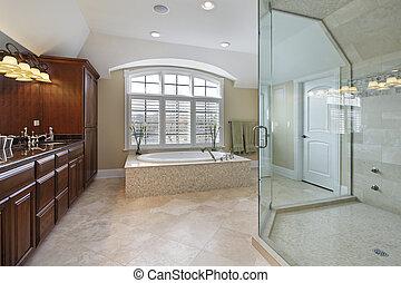 Large master bathroom - Large master bath with spacious...