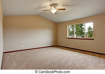 Large master bedroom with carpet.