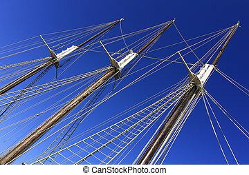 large masts of old sailing ship
